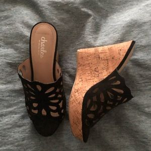 Charles David Black Wedge Shoes 7.5